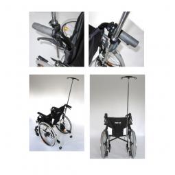 Tige porte-sérum pour fauteuil roulant avec 2 crochet..