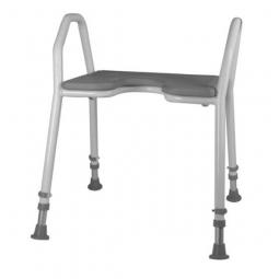 Duschhocker mit Hygieneausschnitt und weicher Sitzauflage