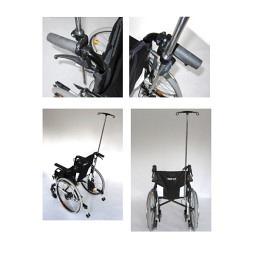 Tige porte-sérum pour fauteuil roulant avec 2 crochets en plastique, réglable en hauteur