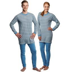 Pyjama-Pflegeoverall hellblau unisex Reissverschluss am Bein und Rücken